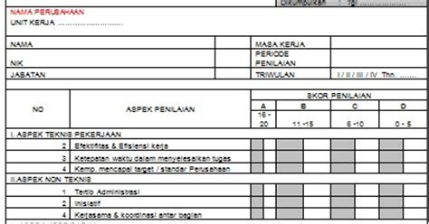 contoh laporan evaluasi kinerja karyawan contoh form penilaian kinerja karyawan spv koordinator
