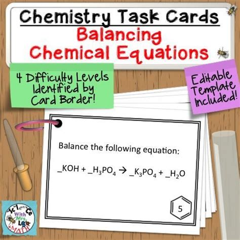 science task card template chemistry task cards balancing chemical equations review