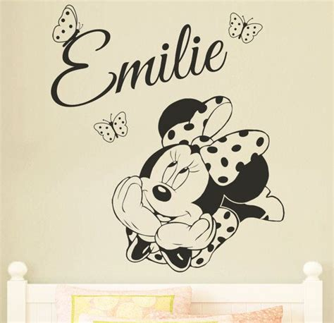 girls bedroom transfers minnie mouse personalised disney wall sticker decal for