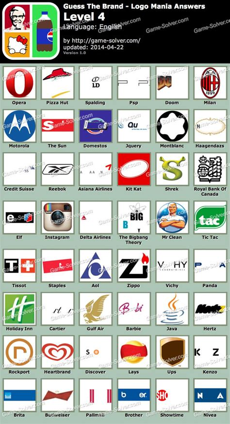 Branded Sale Guess 4 guess the brand logo mania level 4 solver