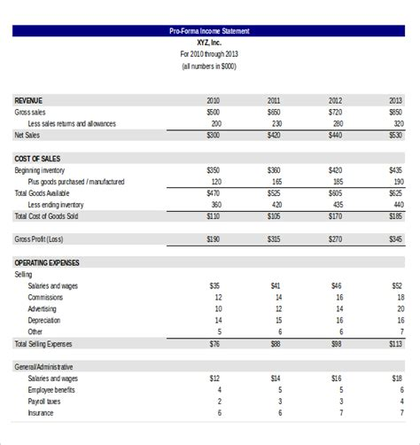 Pro Forma Profit And Loss Statement Template by Income Statement Templates 23 Free Word Excel Pdf