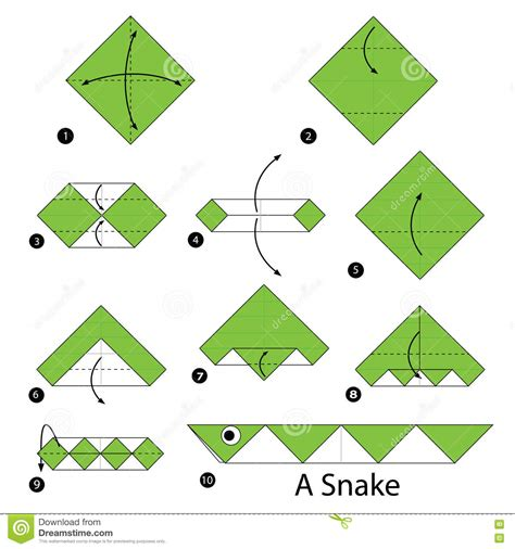 How To Make An Origami Snake - set of abstract geometric animal with a thin outline