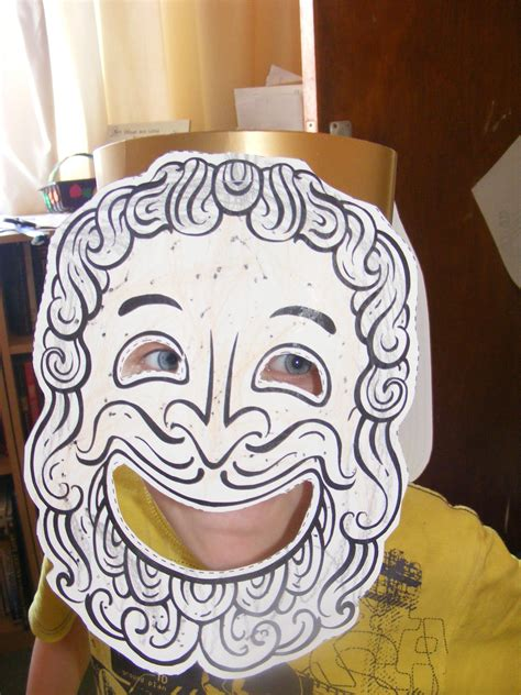 ancient greek mask template happy mask