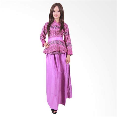 jual batik putri ayu g3 gamis batik ungu harga kualitas terjamin blibli