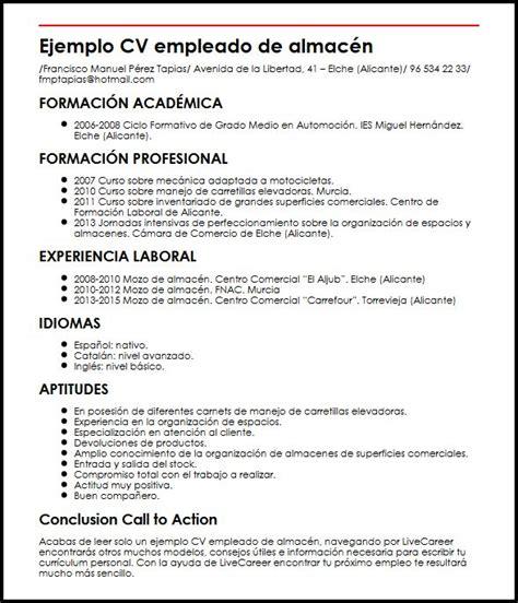 Modelo De Curriculum Vitae Empleado Administrativo Ejemplo Cv Empleado De Almacen Micvideal