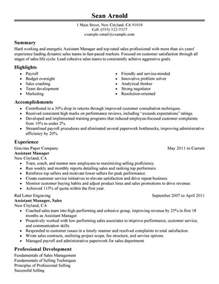 Resume Sles For Assistant by Assistant Manager Resume Sle My Resume