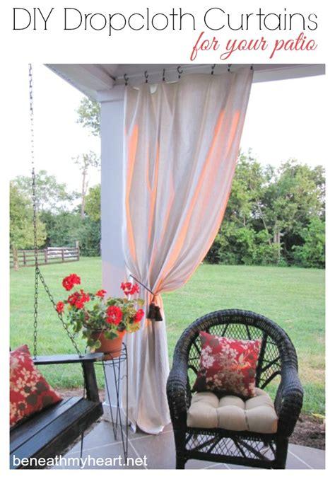 drop cloth curtains   patio beneath  heart