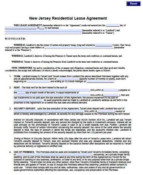 Free New Jersey Standard Residential Lease Agreement 1 Year Pdf Word Doc Rental Lease Agreement Nj Template