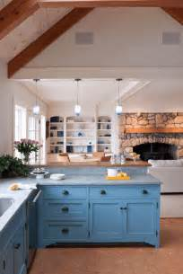Blue Kitchen Cabinets Ideas by Rustic Blue Kitchen Cabinet With Stone Wall And Fireplace
