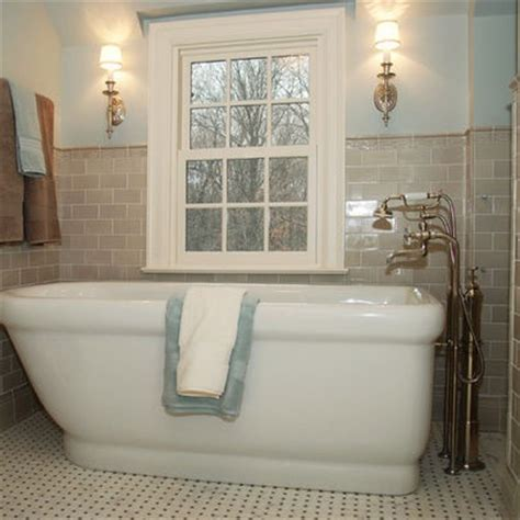 Beige Subway Tile Blue Bathroom Bathroom Inspirations