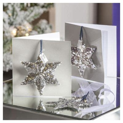 buy glittered star luxury christmas cards  pack   luxury cards range tesco