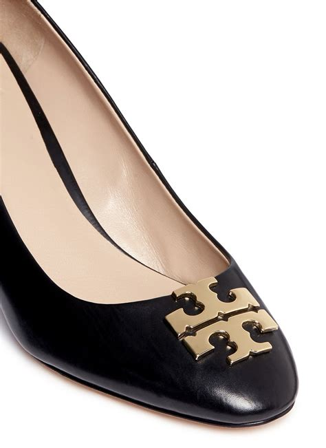 Burch Wedges Shoes Logo Hitam lyst burch raleigh metal logo leather wedge pumps