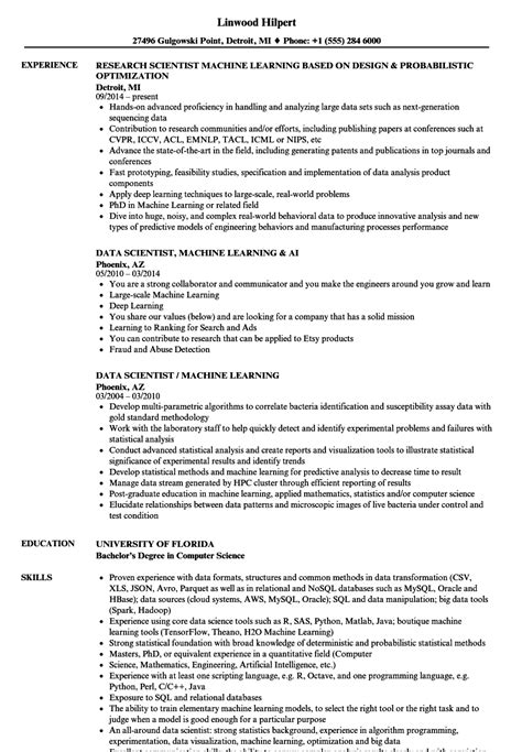 Machine Learning Resume by Scientist Machine Learning Resume Sles Velvet