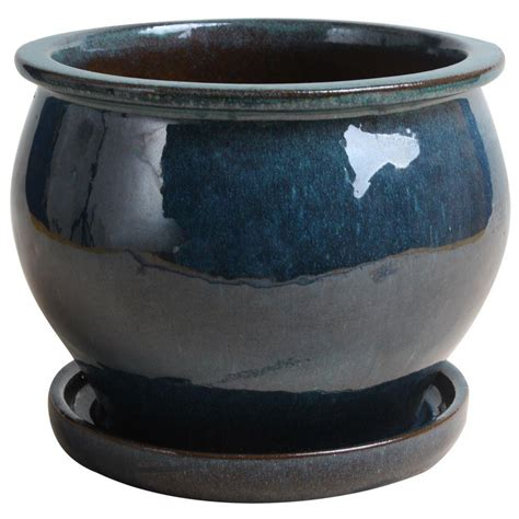 Ceramic Planters Home Depot by 15 In Dia Blue Ceramic Urn Planter Db15 Db The Home Depot