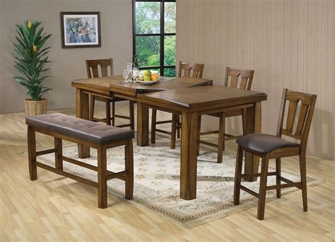counter height table with bench morrison oak finish solid wood counter height table set bench 6pc