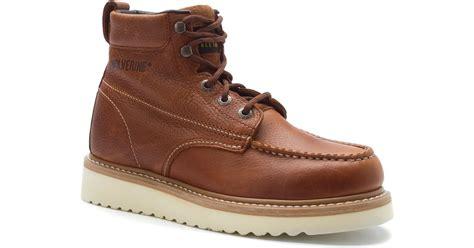 wolverine moc toe wedge heel work boot in brown for lyst