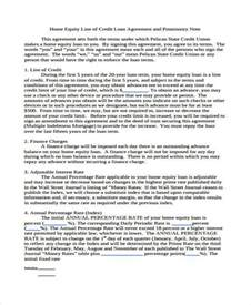 Line Of Credit Agreement Template 6 Promissory Note Agreement Form Samples Free Sample