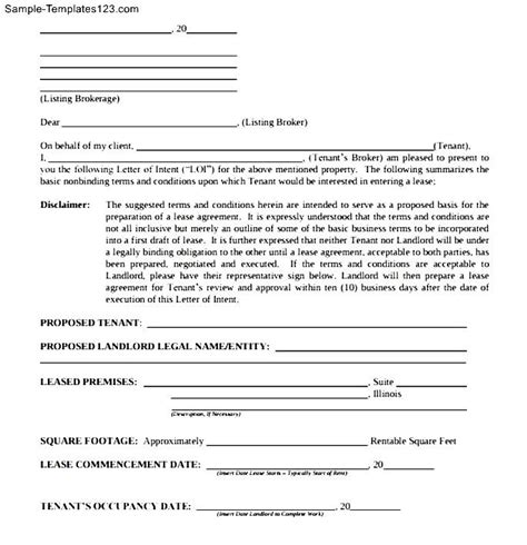 lease letter of intent template letter of intent real estate lease commercial sle
