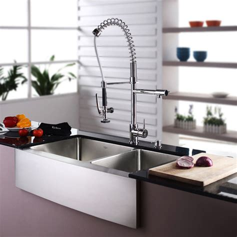 farmhouse faucet kitchen kraus farmhouse 70 30 double bowl kitchen sink and chrome