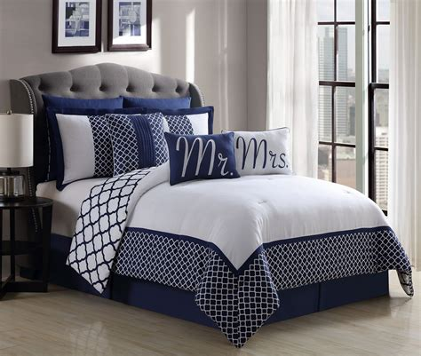 Navy Bed by 9 Mr And Mrs Navy White Reversible Comforter Set