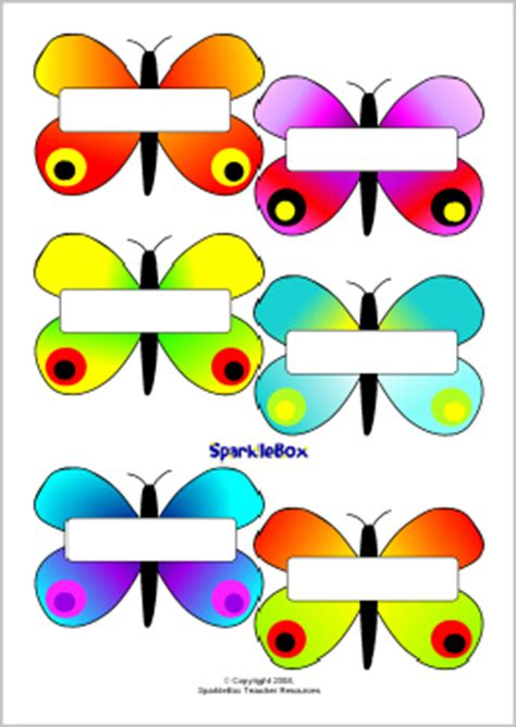 printable butterfly name tags self registration butterflies sb1409 sparklebox