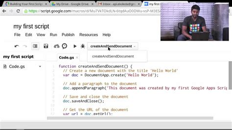 tutorial youtube your first script apps script tutorials youtube