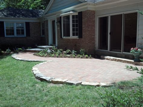 new brick patio and walk and step design green