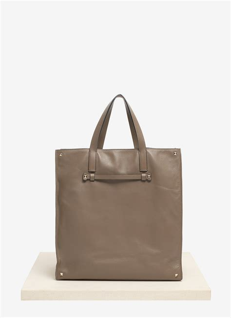 Valentino Studded Tote by Valentino Studded Leather Tote Bag In Gray For Grey