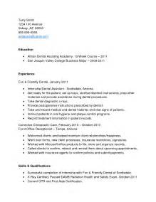 Resume Cover Letter Dental Assistant No Experience Sle Assistant Resume With No Experience Template Design