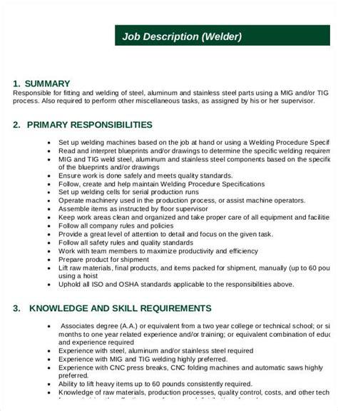 Description For Welder by Welder Description 10 Free Word Pdf Documents Free Premium Templates