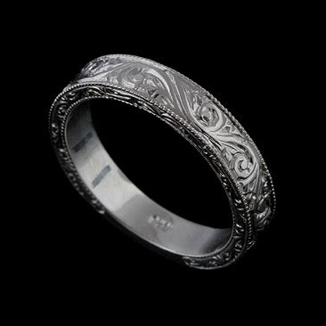 14k solid white gold deco style engraved mens wedding