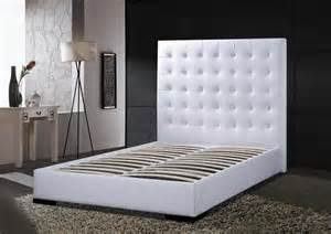 White Leather Headboard King Contemporary Tufted Leather Headboard Modern Platform