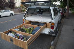 Fold Out Bench Seat Toyota Tacoma Owner Turns His Car Into A Handmade Rv