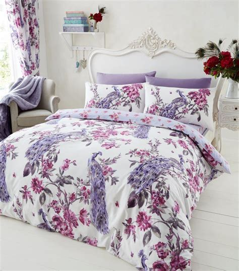patterned coverlet plume peacock printed duvet cover floral bedding set