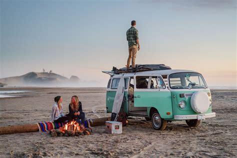 friends hanging    beach fire   oregon coast   vw bus