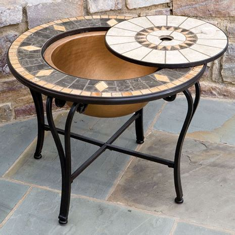 tables with pits outdoor pit beverage tables with mosaic table tops