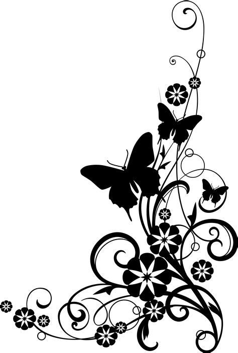 black  white flower border clipart   icons