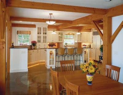 exposed ceiling beams in kitchen rattan bar stools home lakeside idyll country decorating idea lakeside idyll