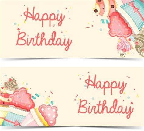 happy birthday banner design vector free download cupcake with happy birthday banner vector 02 vector