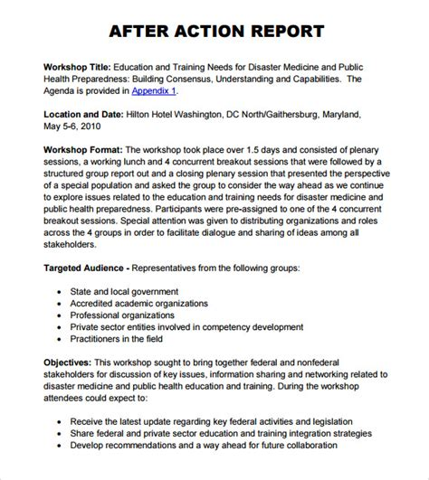 After Action Report Outline