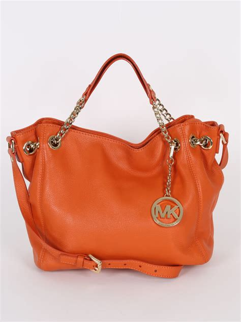 Small Leather Chain Bag by Michael Kors Jet Set Chain Small Leather Bag Orange