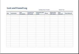 lost template 5 lost and found log form template excel microsoft