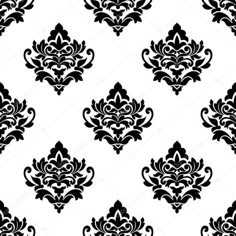 repeat pattern black and white black and white repeat floral arabesque pattern stock