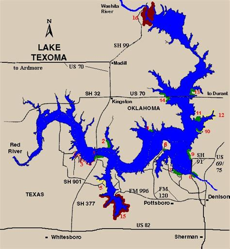 texoma texas map lake texoma launch points