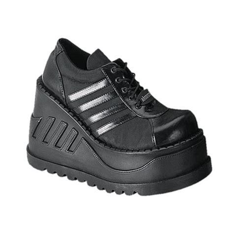 demonia stomp 08 black lace up platform shoes demonia shoes