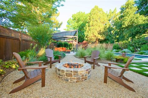 pea gravel path patio contemporary with firepit outdoor