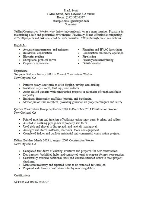 Sle Resume For An Entry Level It Worker Resume Templates For Construction Workers 28 Images Paver Resume Sle Construction Resume