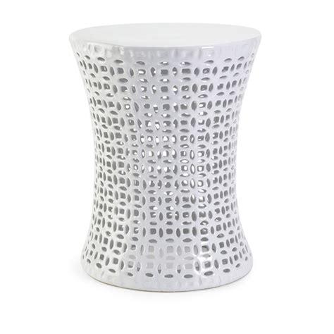 White Ceramic Garden Stool by Huff Cutwork Ceramic Garden Stool Zuri Furniture