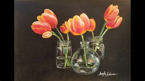 How To Paint A Glass Vase With Acrylic Paint How To Paint Tulips In Glass Vases With Acrylics Step By