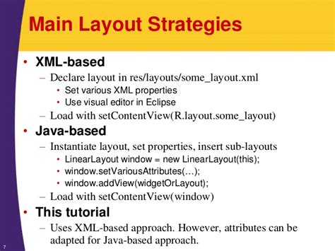 xml layout properties android tutorial layouts organizing the screen